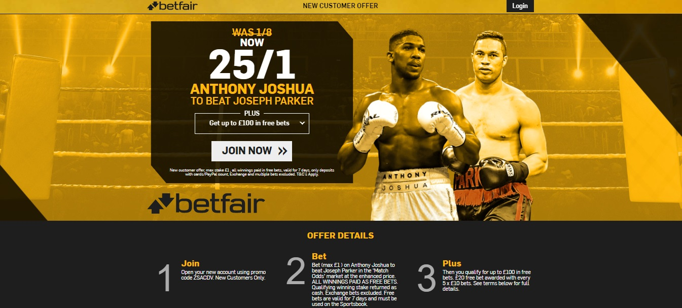 Betfair 25/1 Anthony Joshua to beat Joseph Parker